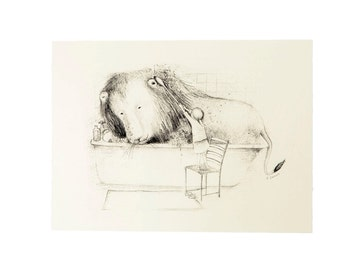 Lily and the Lion 'Bath time' print
