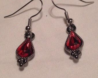Antique Drop Earrings with Faux Ruby Jewel