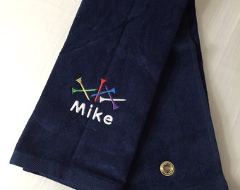 Personalized Custom Embroidery Trifold Golf Towel Golf Tee Design
