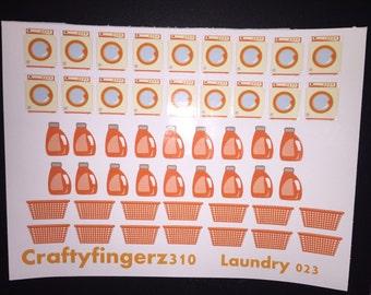 Laundry Planner Stickers In Orange
