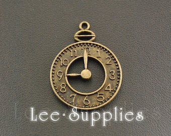 10pcs Antique Bronze Alloy Metal Alarm Clock Charms Pendant A329