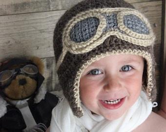 Aviator Hat- Crochet Hat- Photo Prop- Baby Pilot Hat- Airplane Love- Aviator Goggles- First Birthday