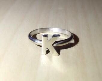 Sterling Silver Letter Ring