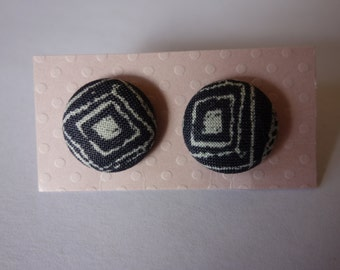 Handmade black and white print fabric button earrings. Hypo-allergenic nickel-free silver studs