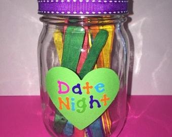Date Night Jar, Things to Do, Mason Jar Crafts