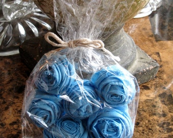 Handmade Sky Blue Fabric Flowers