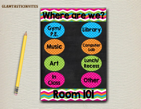 Classroom Decor Etsy ~ Where are we sign digital classroom signs custom