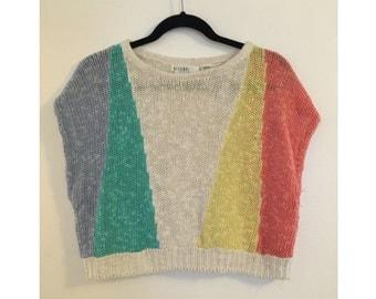Pastel Color Blocked Crop Sweater