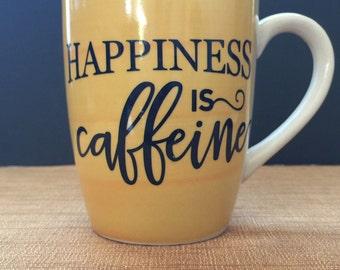 Happiness is Caffeine Yellow and White Coffee mug, Coffee Cup
