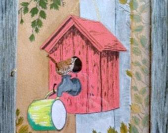 Wren and Bird House
