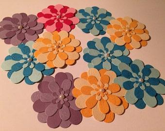 Large Paper Flowers / Flower Embellishments / Set of 10