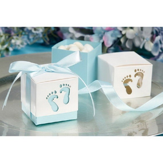 Favour Boxes Baby Blue : Baby feet favor boxes it is a boy gender reveal