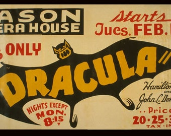 Theater Dracula Mason Opera House American US Vintage Poster Repro Free S/H in USA