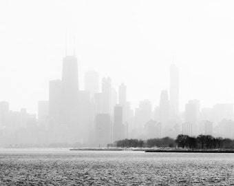 Skyline Through the Fog - Downtown Chicago skyline architecture photography print black and white lake michigan