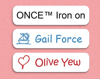 100 Iron On Name Labels - ONCE™ Iron on Labels