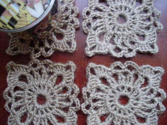 Coaster set of natural jute. Hand crocheted. Set of four (4). Eco-friendly.