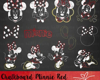 Chalkboard Minnie Red Clipart / Digital Clip Art for Commercial and Personal Use / INSTANT DOWNLOAD