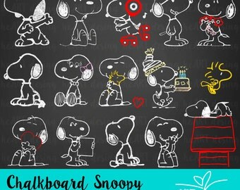 Chalkboard Snoopy Clipart / Digital Clip Art for Commercial and Personal Use / INSTANT DOWNLOAD
