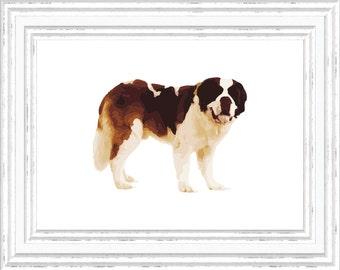 Saint Bernard Print, St. Bernard Wall Art, Saint Bernard Printable, Digital Saint Bernard Printable, Printable Saint Bernard Art, Dog Art
