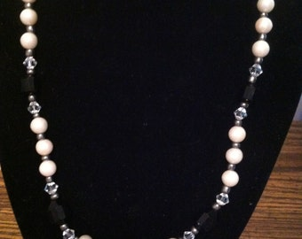 Pearl and Black with Crystals Necklace