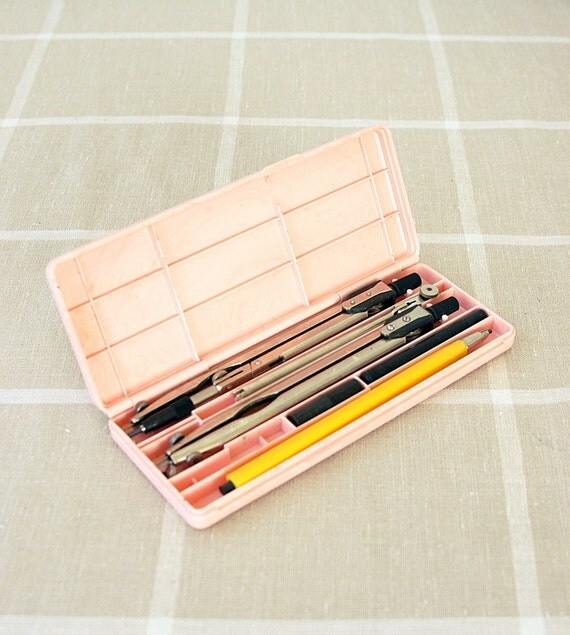 Vintage Drafting Set Retro draftmanship tool Soviet Russian pair of compasses and pencil set in box Drawing Collectible Old School supplies