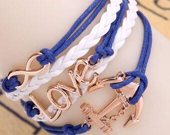 Blue and white love sailor bracelet
