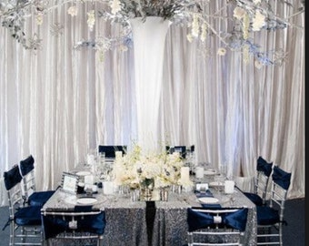 SILVER Sequin Tablecloth for Wedding and all other Events! Runners, Overlays, Rounds, Squares and Rectangular!
