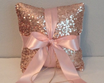 Sequin/Satin Wedding Ring Bearer  Pillow. Blush, Champagne  Gold, Ivory, White and Silver