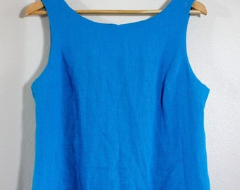 100% Blue Linen Tunic Sleeveless for Israelite Women w/ Corners for Tzitzit Tassels - Deborah Tunic