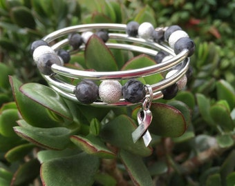 Labrodite Gemstone Bracelet with Silver Stardust Beads