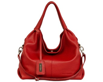 Leather handbag handmade red HOFFMANN