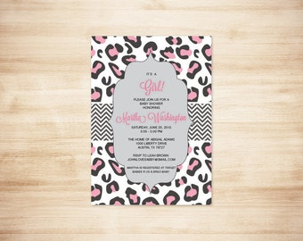 Pink Cheetah Print Baby Shower Invitation