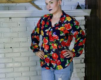 Women's Vintage Liz Claiborne floral sheer blouse: Size 6