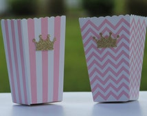 12 Pink Gold Paper Popcorn Boxes, Pink and Gold Baby Shower, Pink and Gold Wedding, Princess Birthday Treat Box, Princess Baby Shower