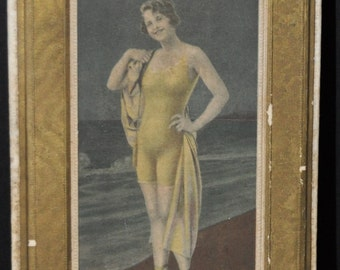 Bathing Beauty at the Ocean Edge 1920's Candy Box