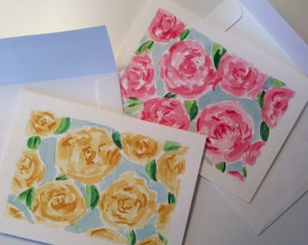 Hand Painted Blank Lilly Pulitzer Greeting Card in First Impressions Set of 2 - FREE Shipping!