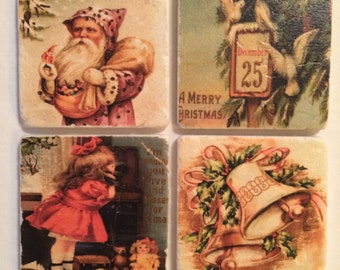 Vintage Christmas MIX & MATCH Marble Coasters
