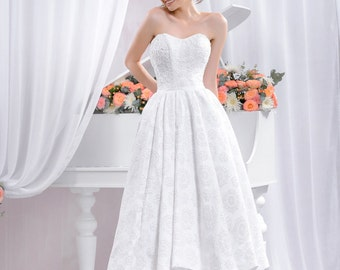Short Lace Wedding dress, Long lace wedding dress A-silhouette with beading