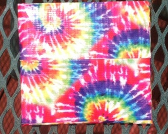 Tie dye and chrome duct tape bi-fold wallet