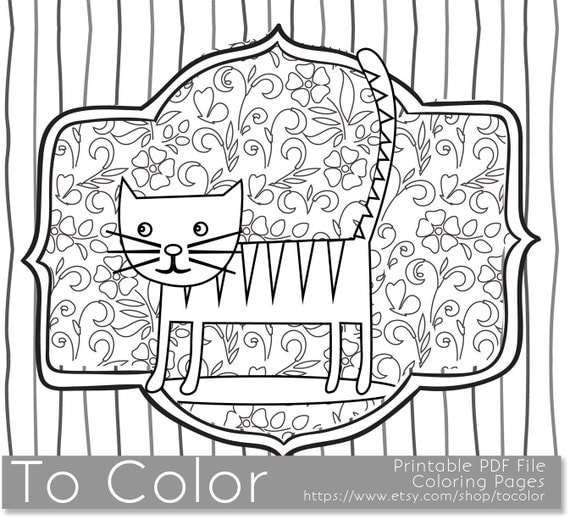 Items similar to 3rd Printable Whimsical Cat Coloring Page for