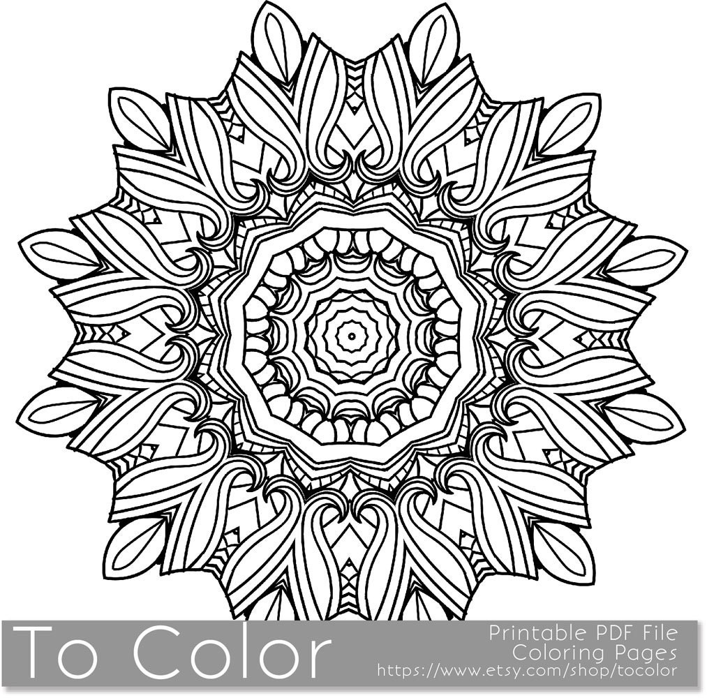 Printable Coloring Page For Adults Mandala Pattern Pdf By