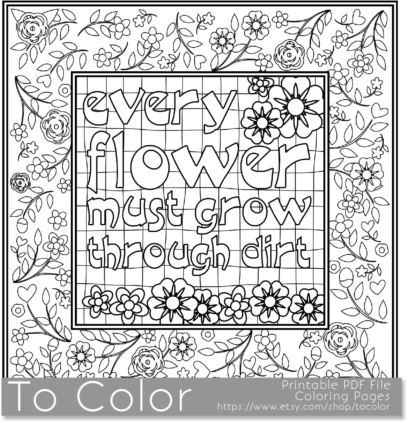 Printable Motivational Coloring Page for Adults PDF / JPG
