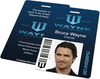 Custom ID Card Badge: Wayne Enterprises Batman, Bruce Wayne, Dark Knight Rises, Gotham, Cosplay Costume, Birthday Christmas Gift Present