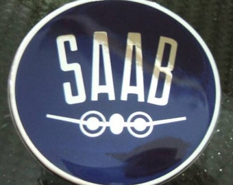 Vintage blue 3D Gel Saab Hood or trunk badge emblem decal