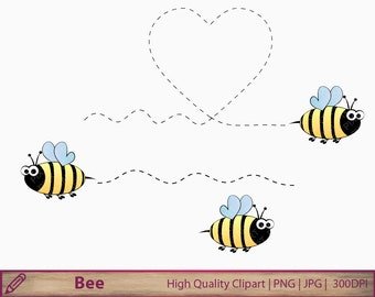 Bee clipart, honey bee clip art, cute love cartoon, scrapbooking, commercial use, digital instant download, jpg png  300dpi