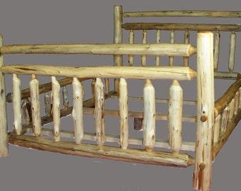 Hand Peeled Cedar Log Beds - Twin, Full, Queen, King