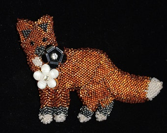Bead Embroidery Fox Brooch