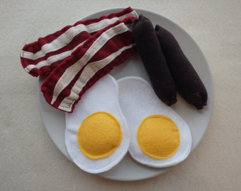 Felt Breakfast Play Food - Bacon, Eggs, & Sausages