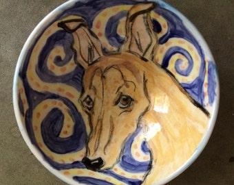 Greyhound hand painted dishwasher/food safe bowl.