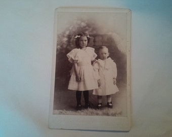 1898 Vintage Little Girl and Little Boy Photograph VP11